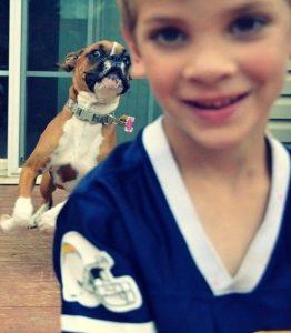Image of kid and dog photobombing
