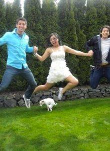 Image of jumpshot and dog photobombing