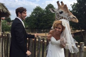 Image of newly wedded and giraffe