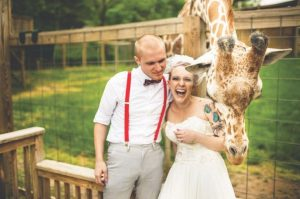 Image of sweet couple and giraffe