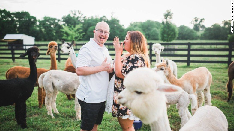 image of a couple photobomb by a alpaca